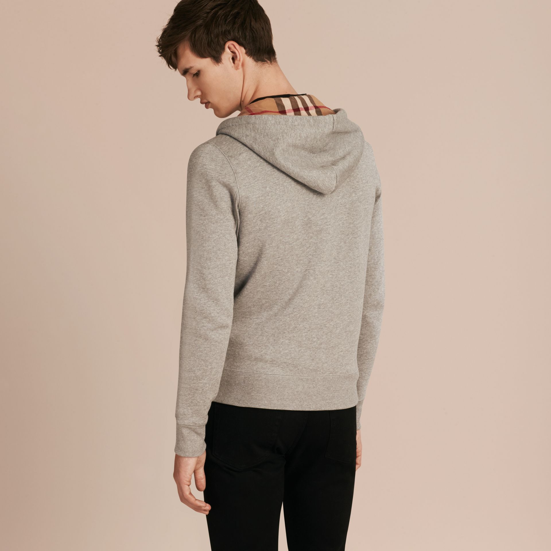 Hooded Cotton Jersey Top in Pale Grey Melange - gallery image 2