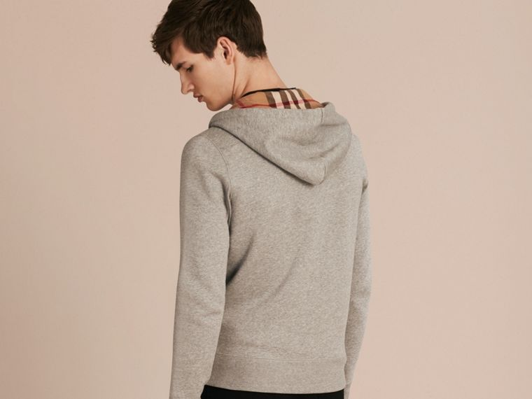 Hooded Cotton Jersey Top in Pale Grey Melange - cell image 1