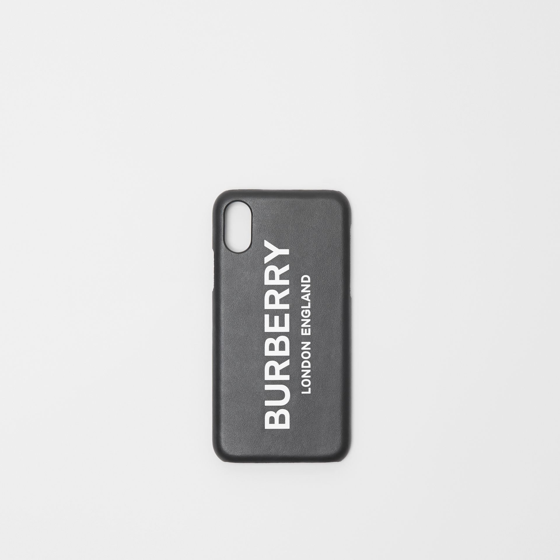 Logo Print Leather iPhone X/XS Case in Black | Burberry - gallery image 0