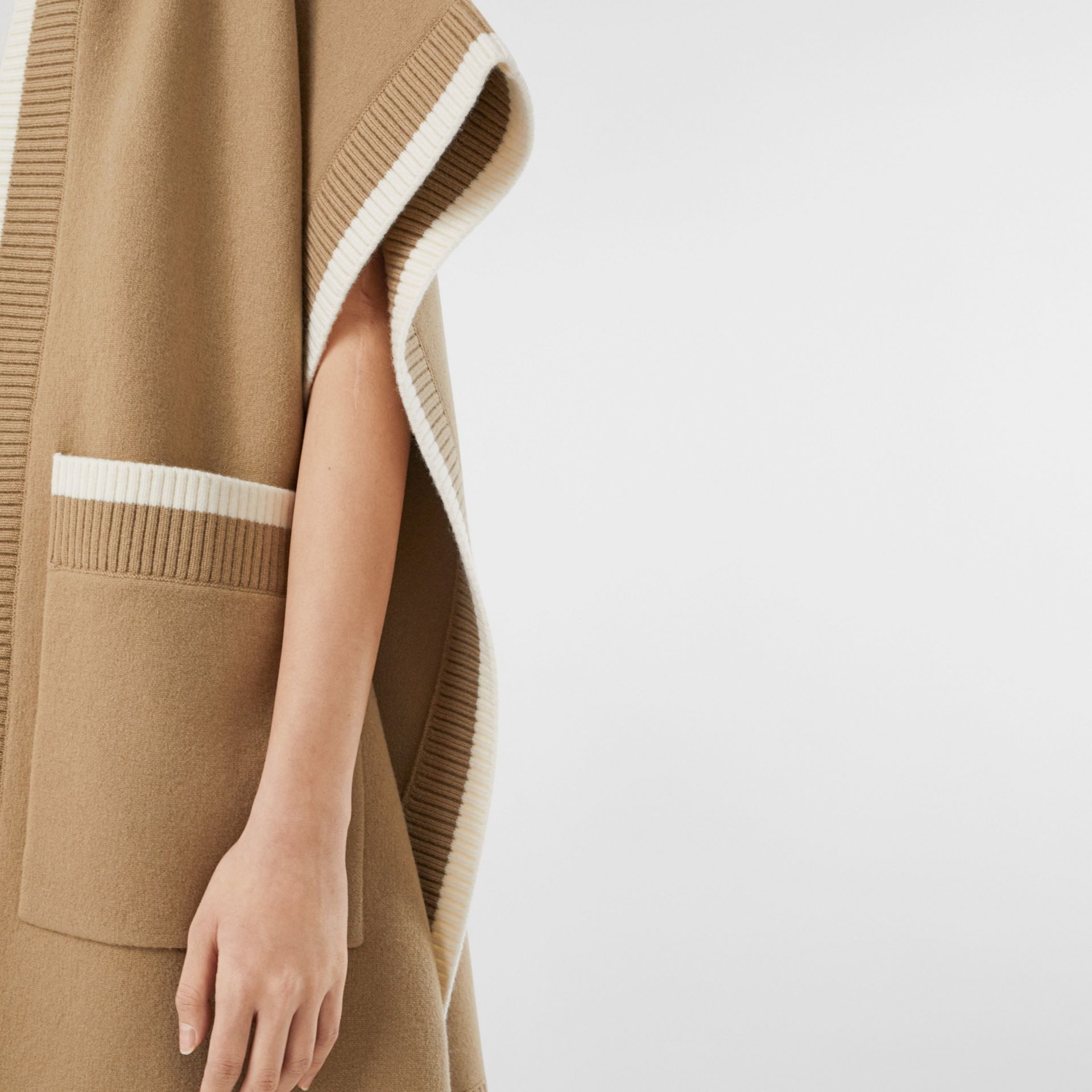 Logo Graphic Wool Cashmere Jacquard Hooded Cape in Archive Beige - Women | Burberry United Kingdom - gallery image 4