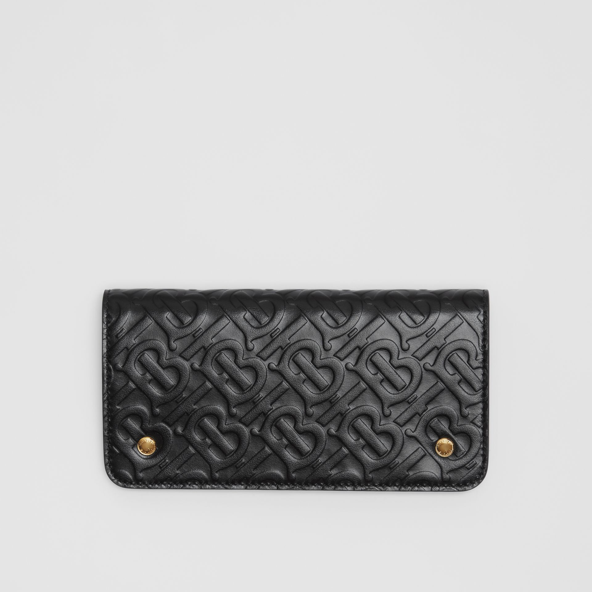 Monogram Leather Phone Wallet in Black - Women | Burberry - gallery image 0