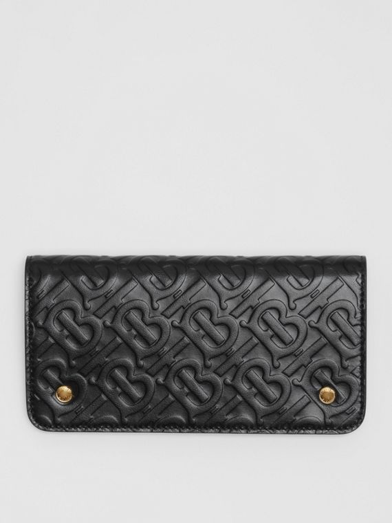 Monogram Leather Phone Wallet in Black