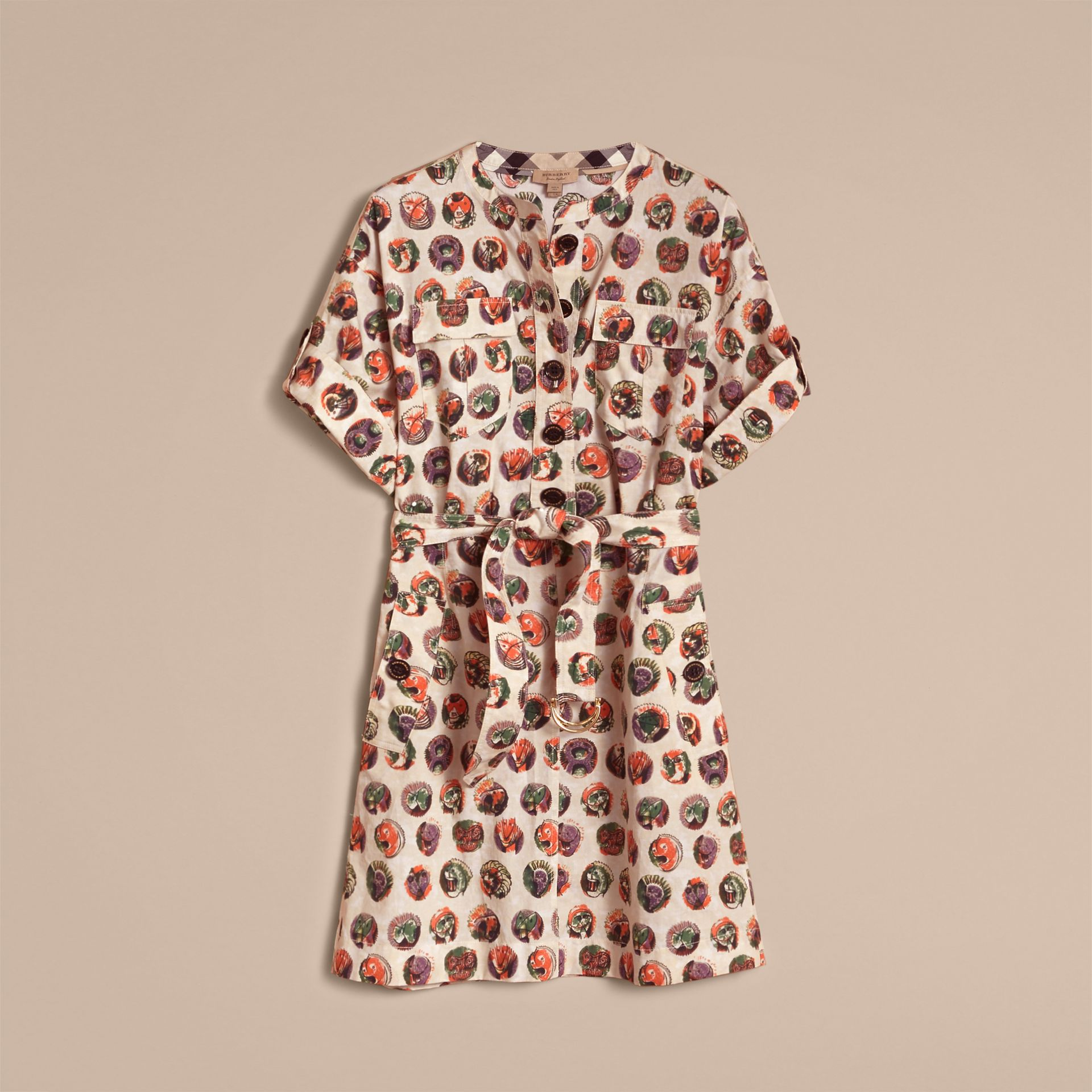 Pallas Heads Print Stretch Cotton Shirt Dress in Natural White - Women | Burberry - gallery image 2