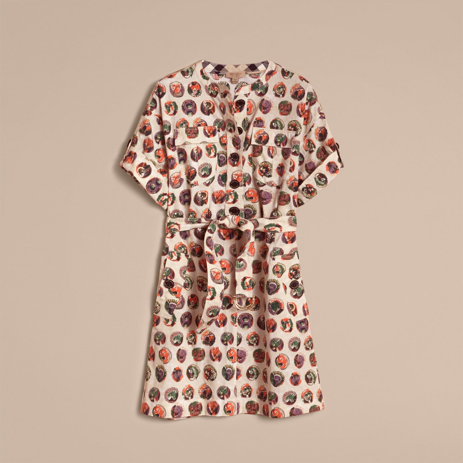 Vestido estilo camisa de algodão stretch com estampa Pallas Heads (Branco Natural) - Mulheres | Burberry - galeria de imagens 3