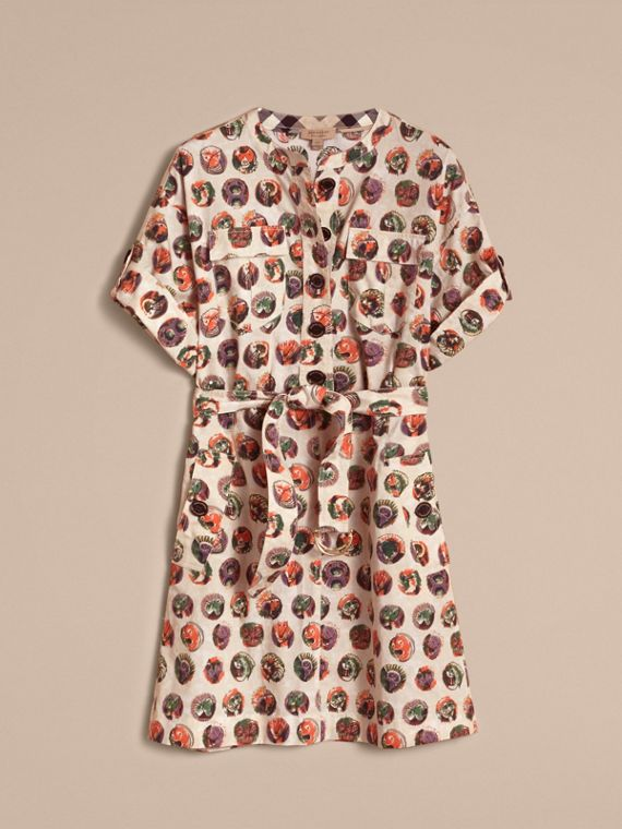 Pallas Heads Print Stretch Cotton Shirt Dress in Natural White - Women | Burberry - cell image 2