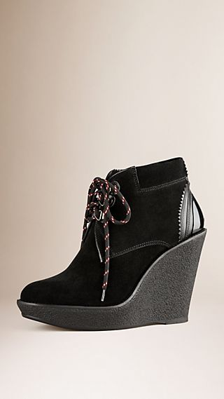 Lace-up Suede Wedge Ankle Boots