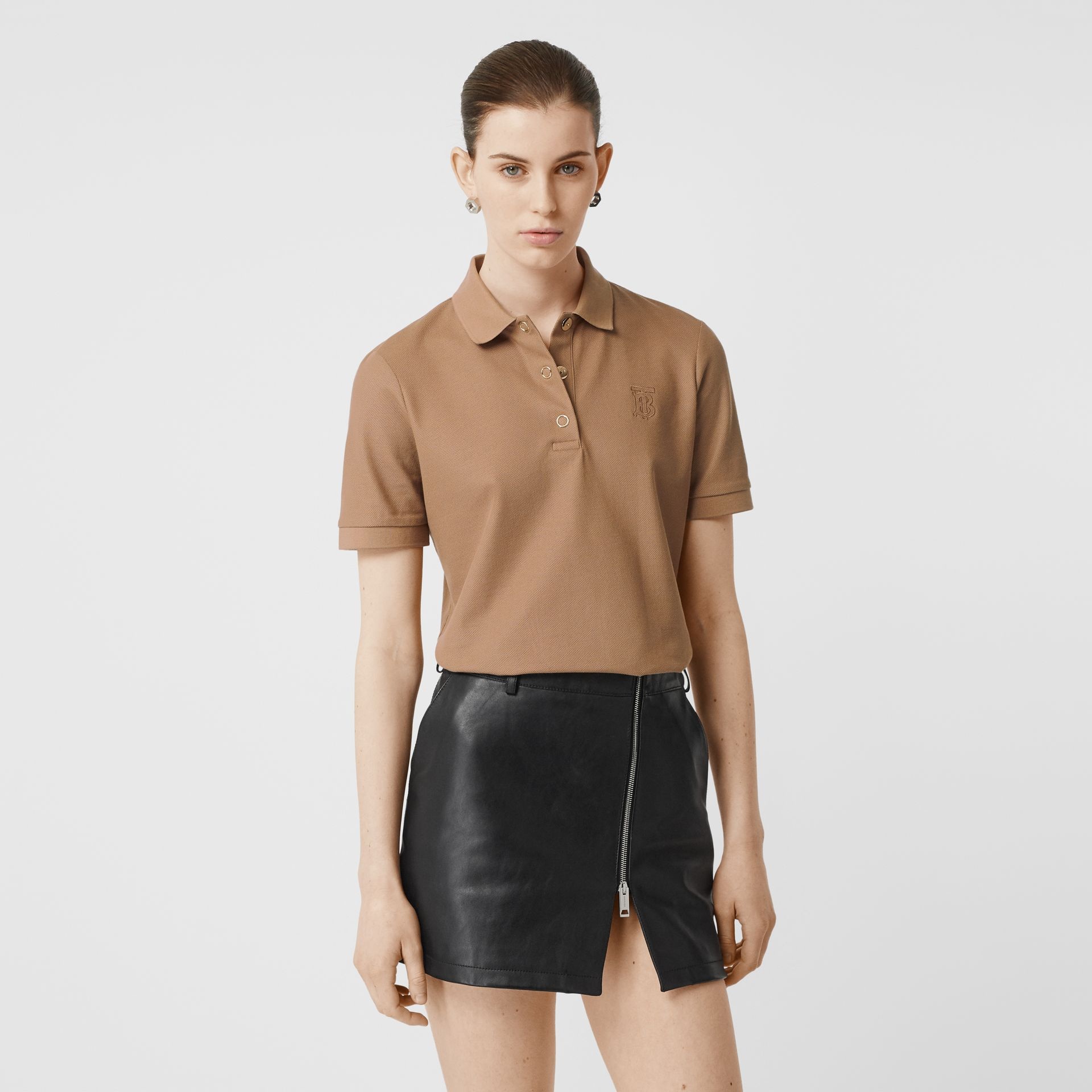 Monogram Motif Cotton Piqué Polo Shirt in Camel - Women | Burberry - gallery image 4