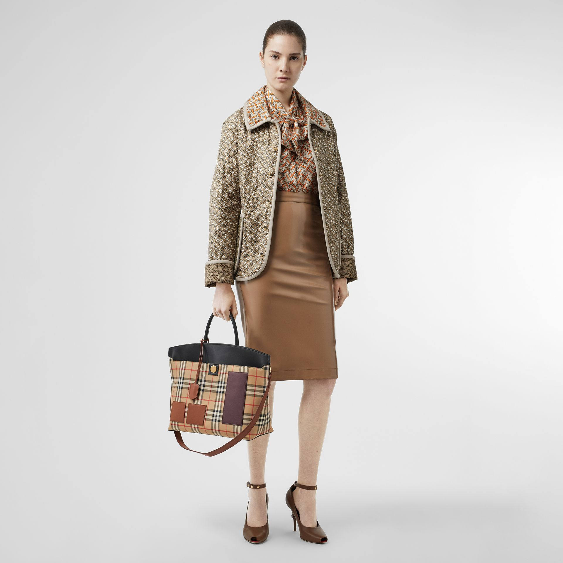 Vintage Check and Leather Society Top Handle Bag in Archive Beige - Women | Burberry - gallery image 5