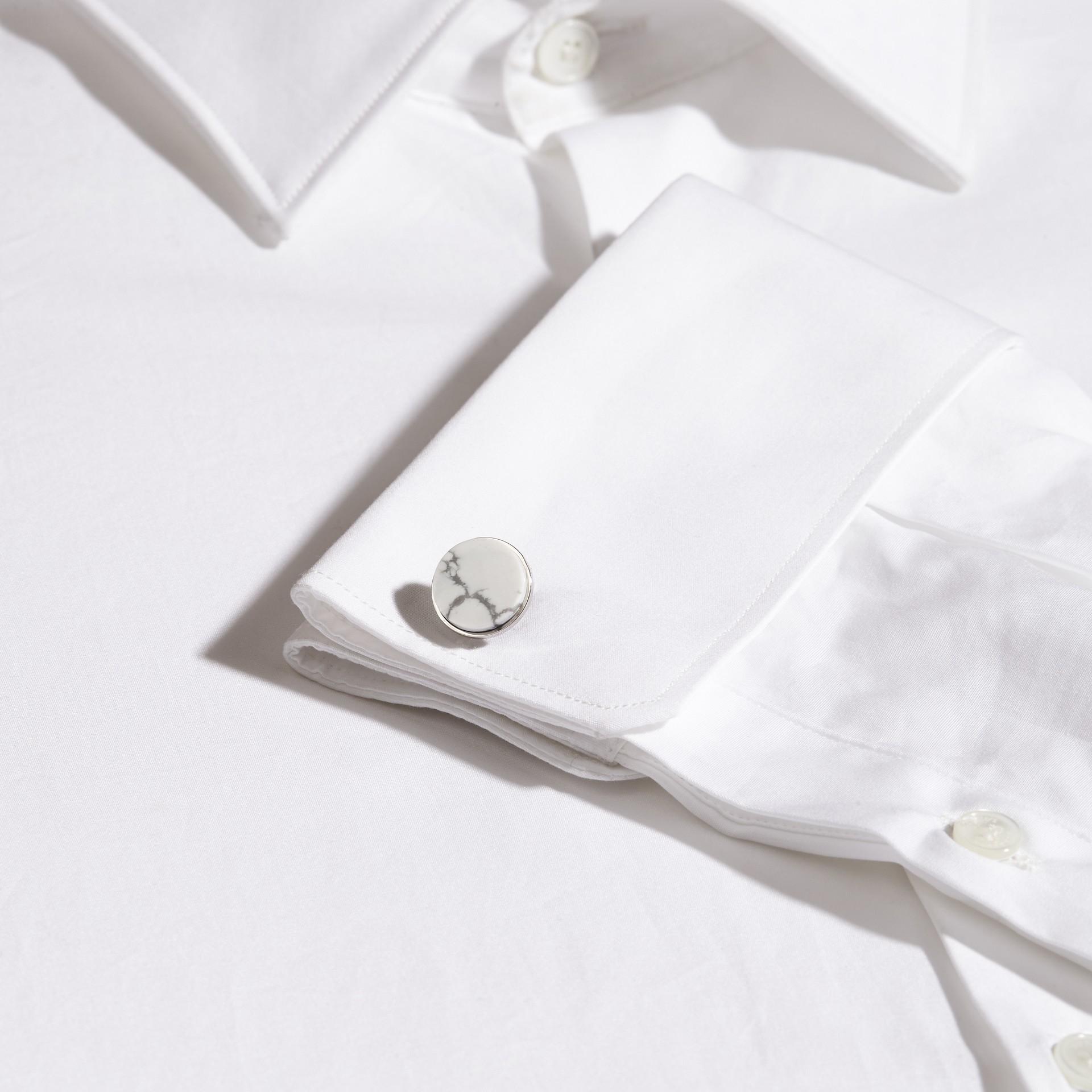 White Howlite Stone Round Cufflinks - gallery image 2