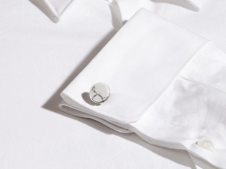 White Howlite Stone Round Cufflinks - cell image 1