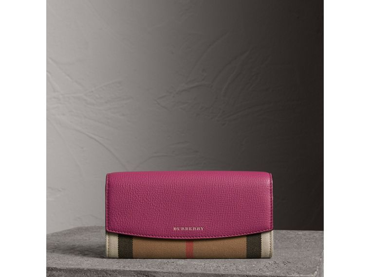 Cartera continental en House Checks y piel (Fucsia Brillante) - Mujer | Burberry - cell image 4