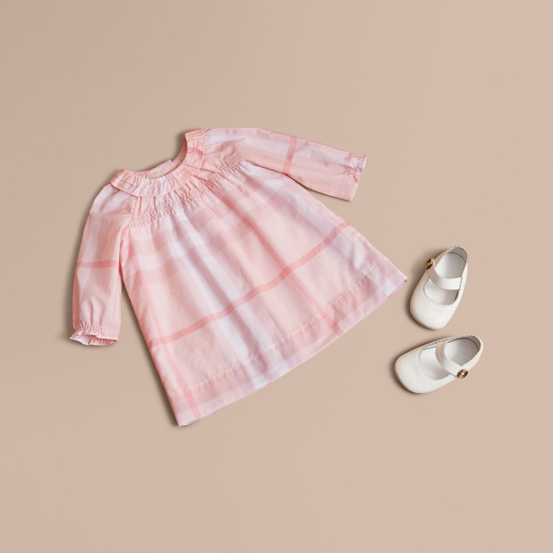 Ruffle Detail Check Cotton Dress and Bloomers in Ice Pink | Burberry United Kingdom - gallery image 1