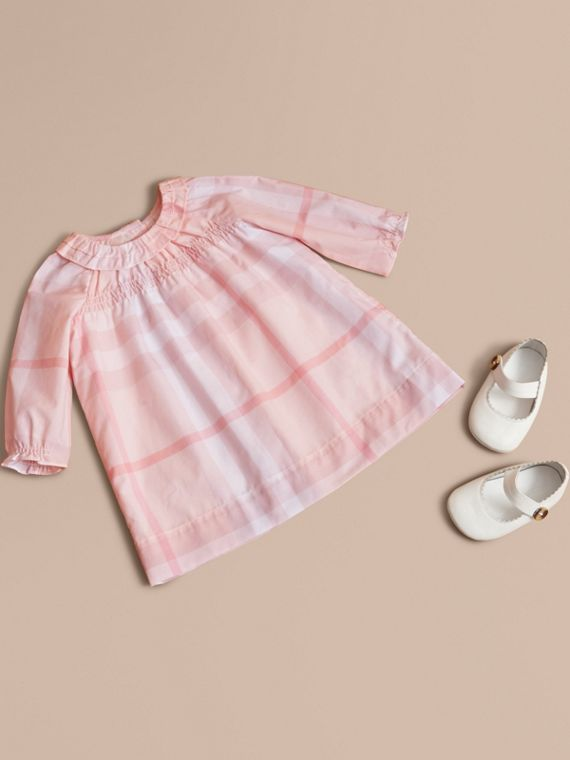 Ruffle Detail Check Cotton Dress and Bloomers in Ice Pink
