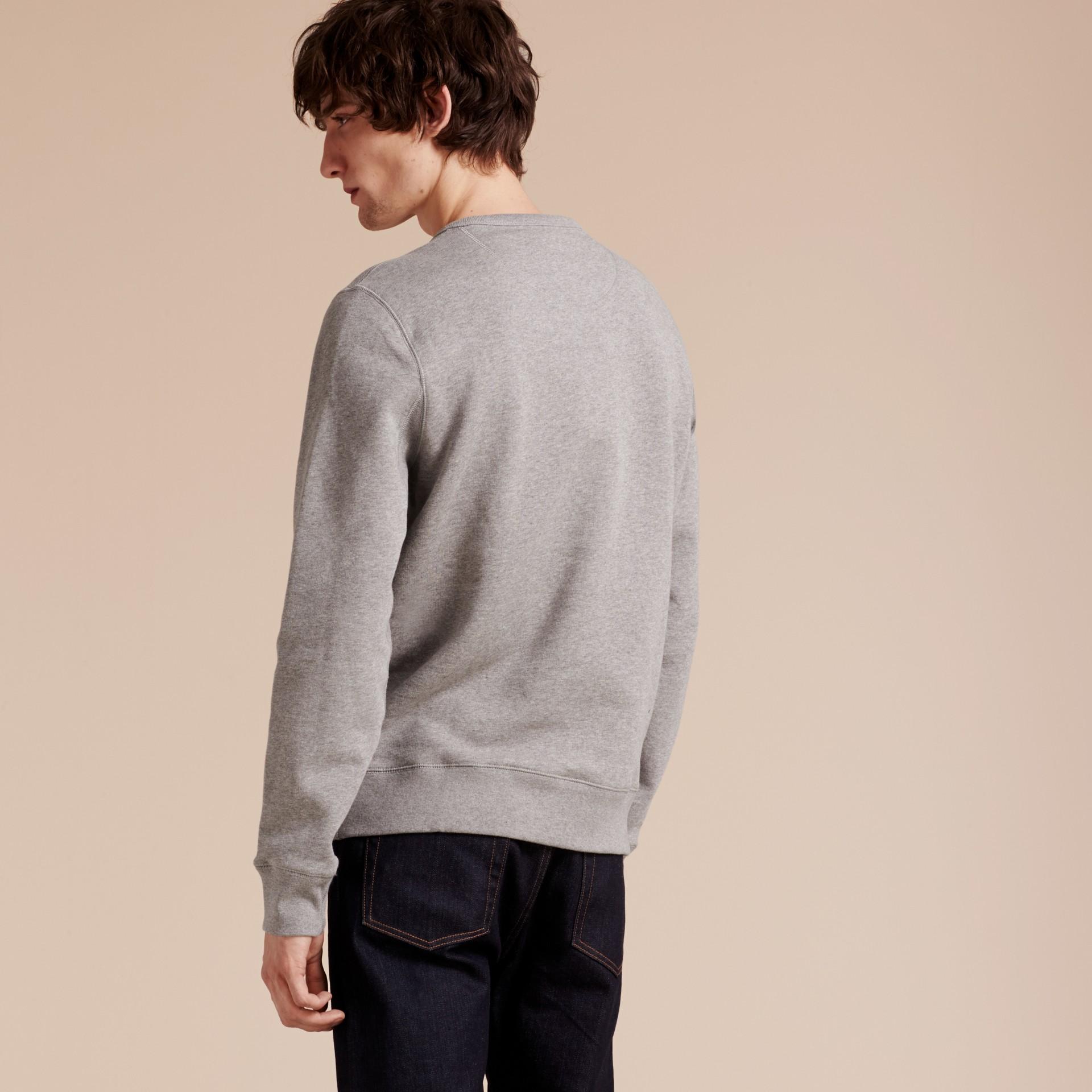 Cotton Blend Jersey Sweatshirt Pale Grey Melange - gallery image 3
