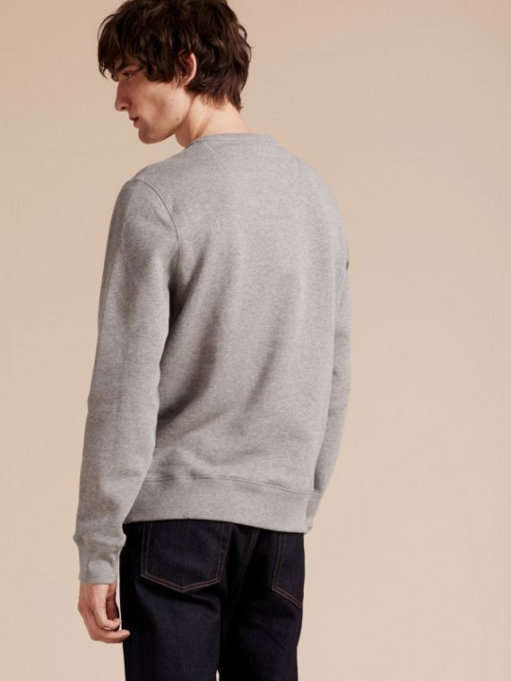 Cotton Blend Jersey Sweatshirt in Pale Grey Melange - cell image 2