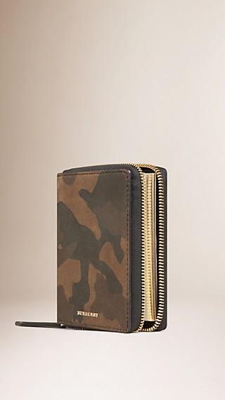 Ziparound Camouflage Print Suede Mini Notebook