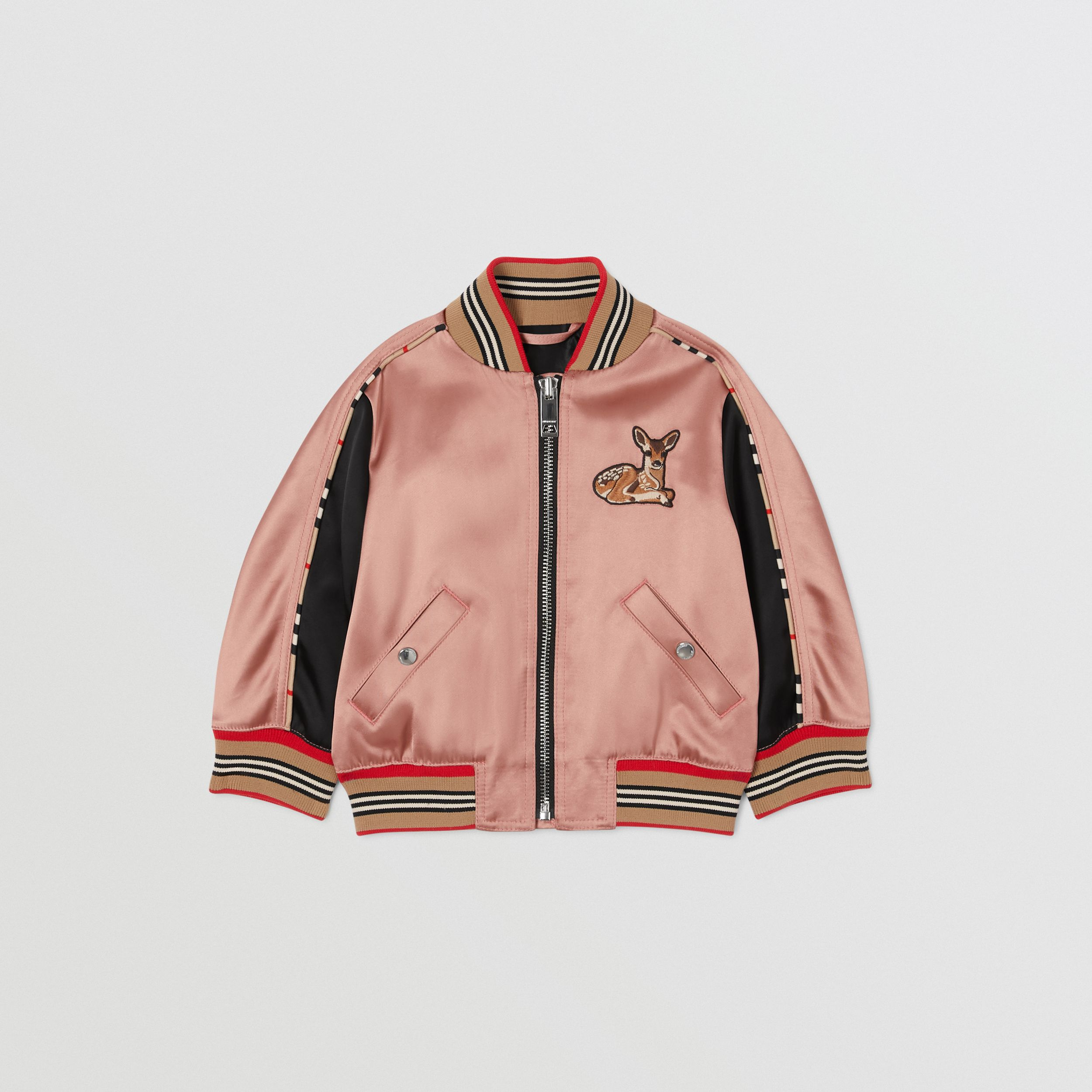 Deer Motif Sateen Bomber Jacket in Dusty Pink - Children | Burberry - 1