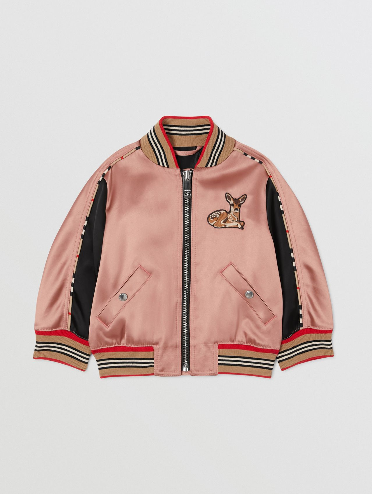 Deer Motif Sateen Bomber Jacket in Dusty Pink