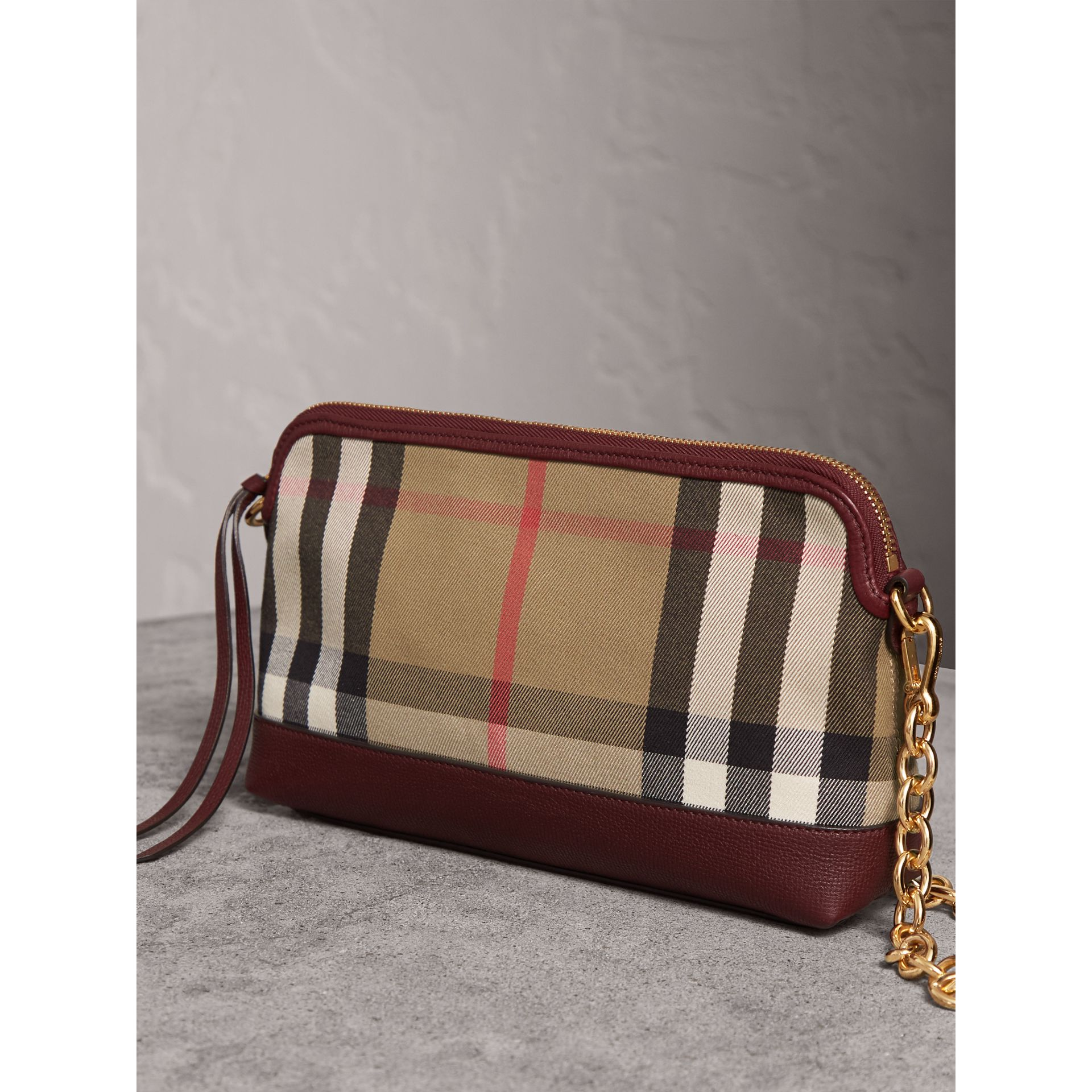 House Check and Leather Clutch Bag in Mahogany Red - Women | Burberry - gallery image 7