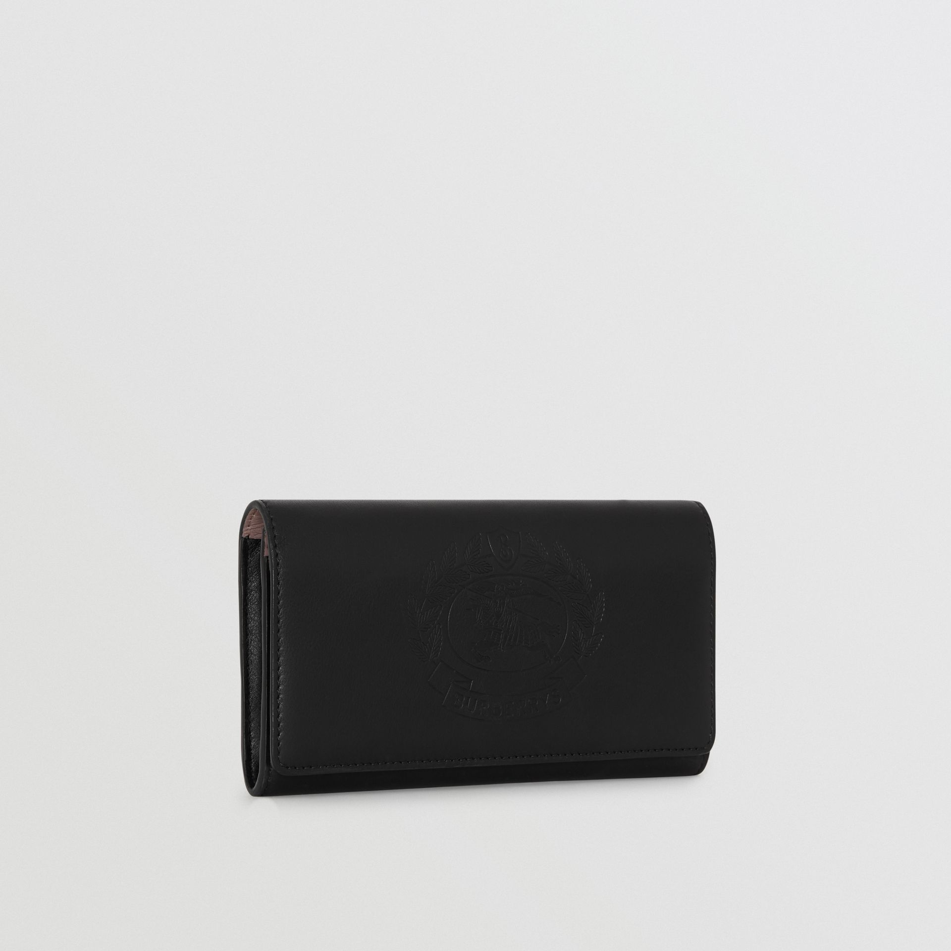 Embossed Crest Two-tone Leather Continental Wallet in Black - Women | Burberry - gallery image 2
