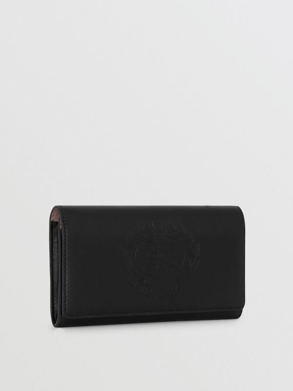 Embossed Crest Two-tone Leather Continental Wallet in Black - Women | Burberry - cell image 2