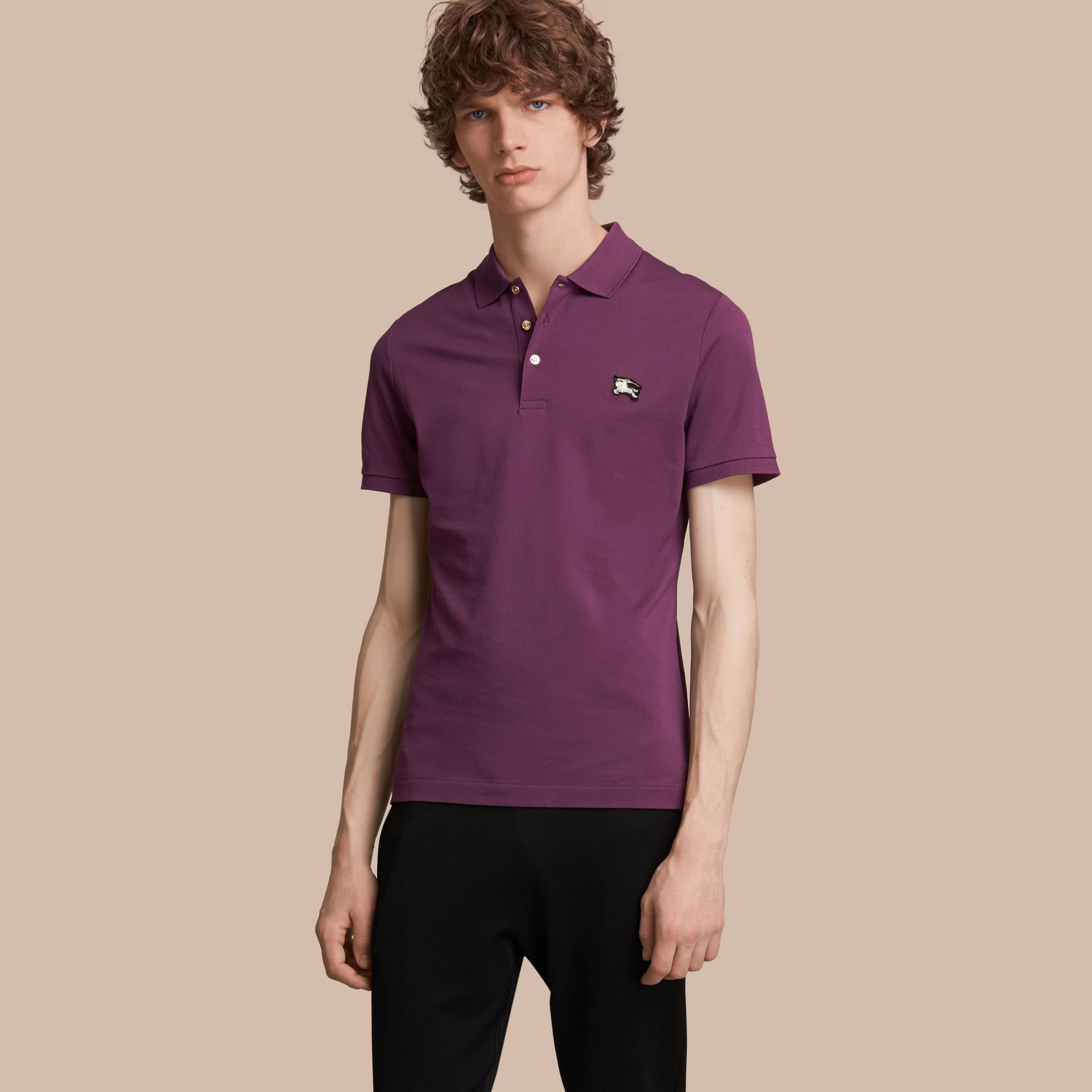 Cotton Piqué Polo Shirt in Heather - Men | Burberry Australia - gallery image 1