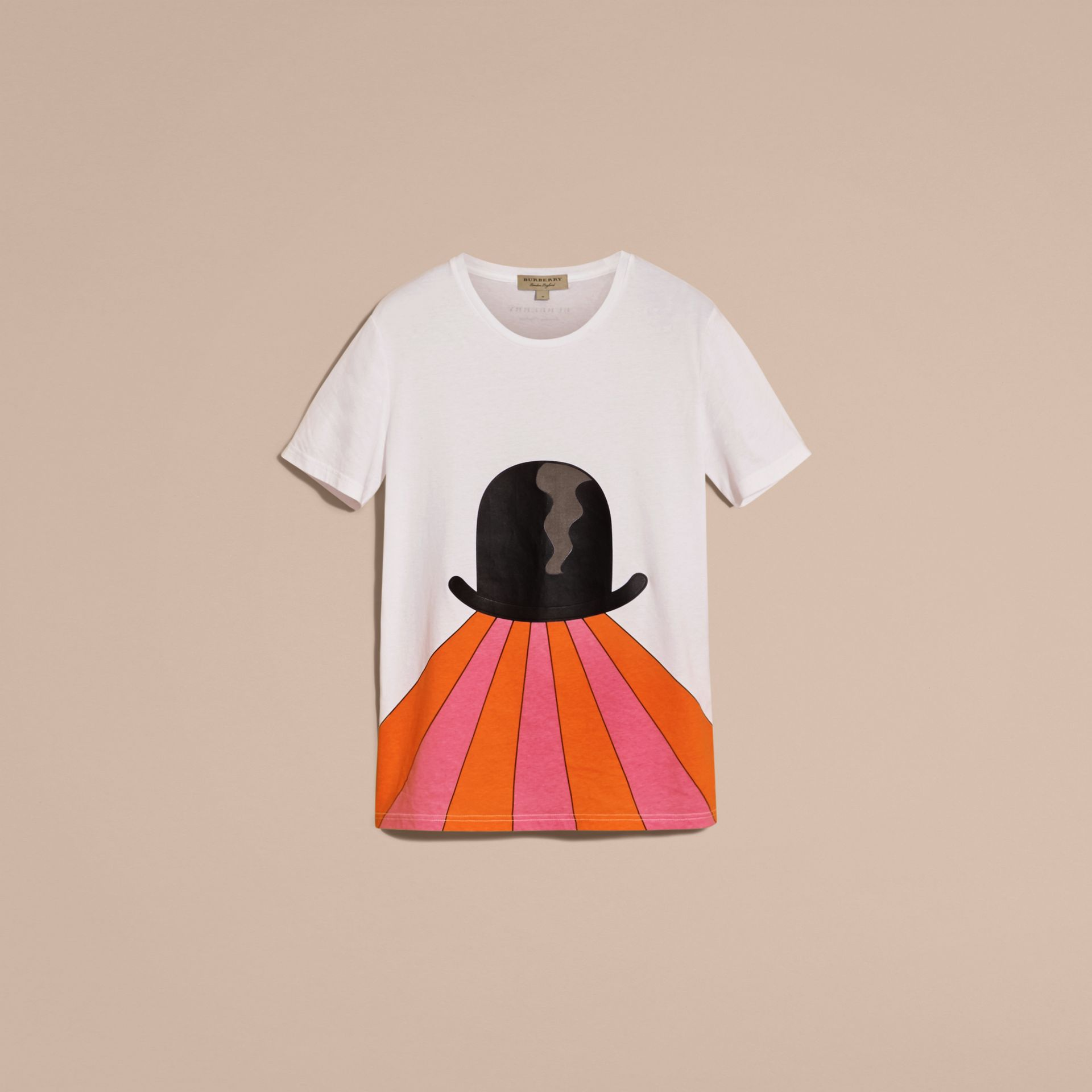 Bowler Hat Motif and Stripe Print Cotton T-shirt - gallery image 4