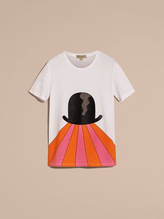Bowler Hat Motif and Stripe Print Cotton T-shirt - cell image 3