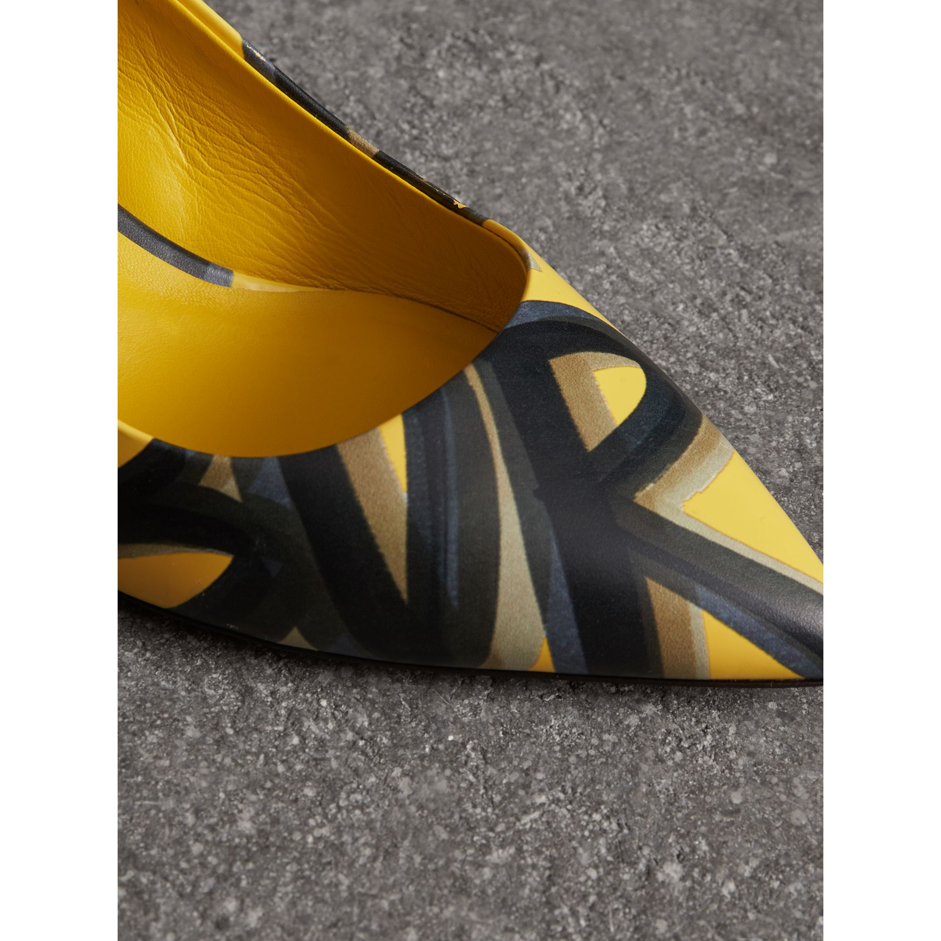 Graffiti Print Leather Slingback Pumps in Vibrant Yellow - Women | Burberry - gallery image 1