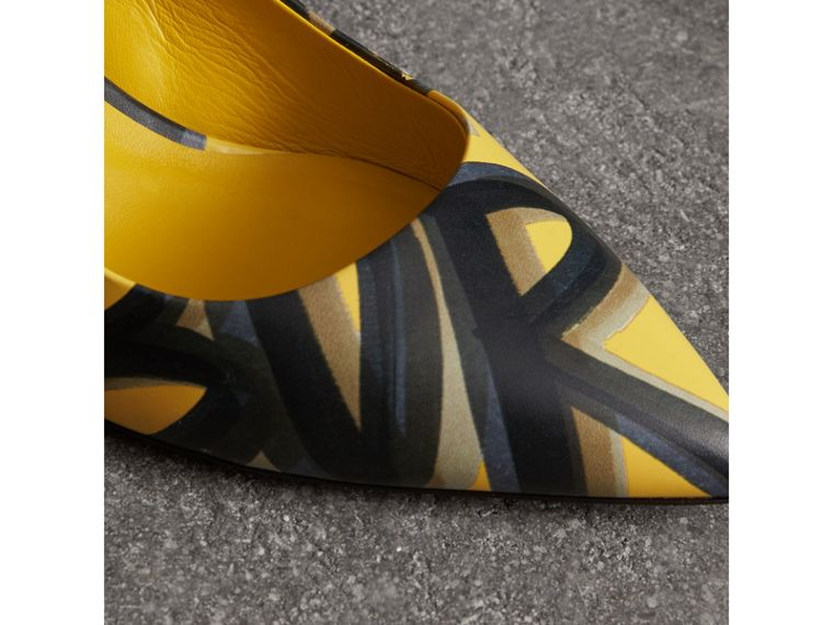 Graffiti Print Leather Slingback Pumps in Vibrant Yellow - Women | Burberry - cell image 1