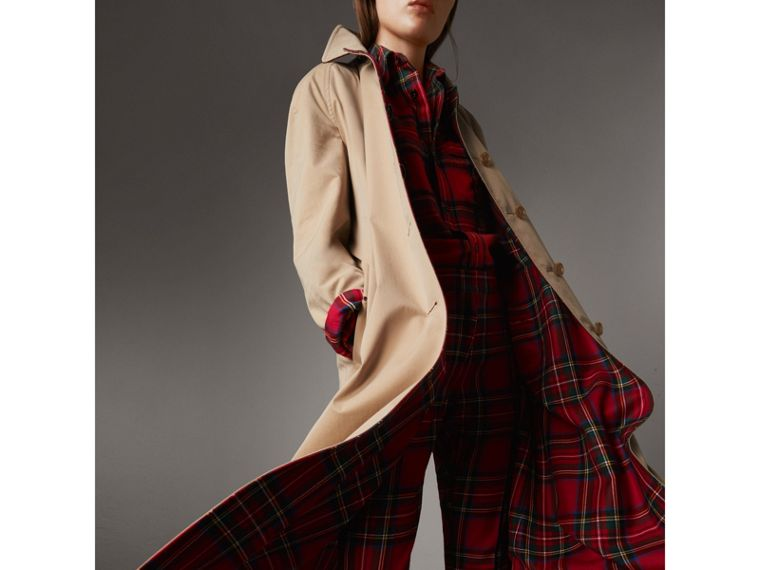 Reversible Gabardine and Tartan Wool Car Coat in Honey - Women | Burberry Australia - cell image 1