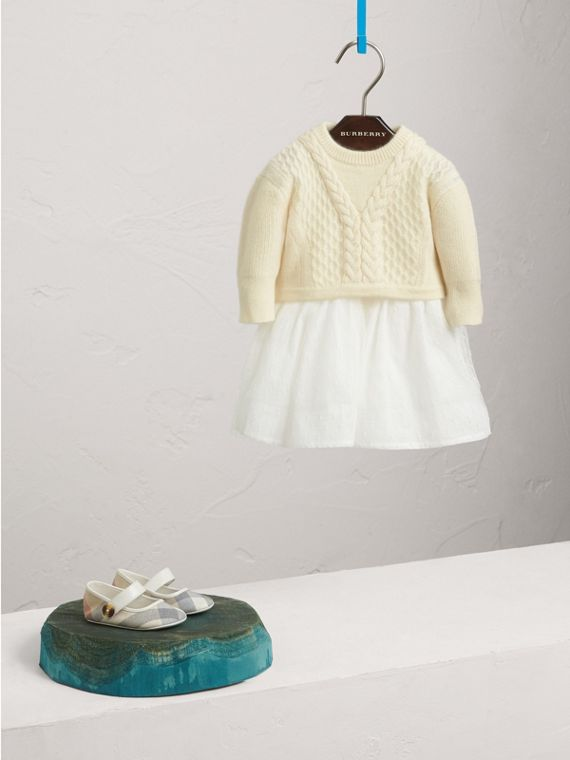 Knitted Cashmere and Tulle Dress in Natural White