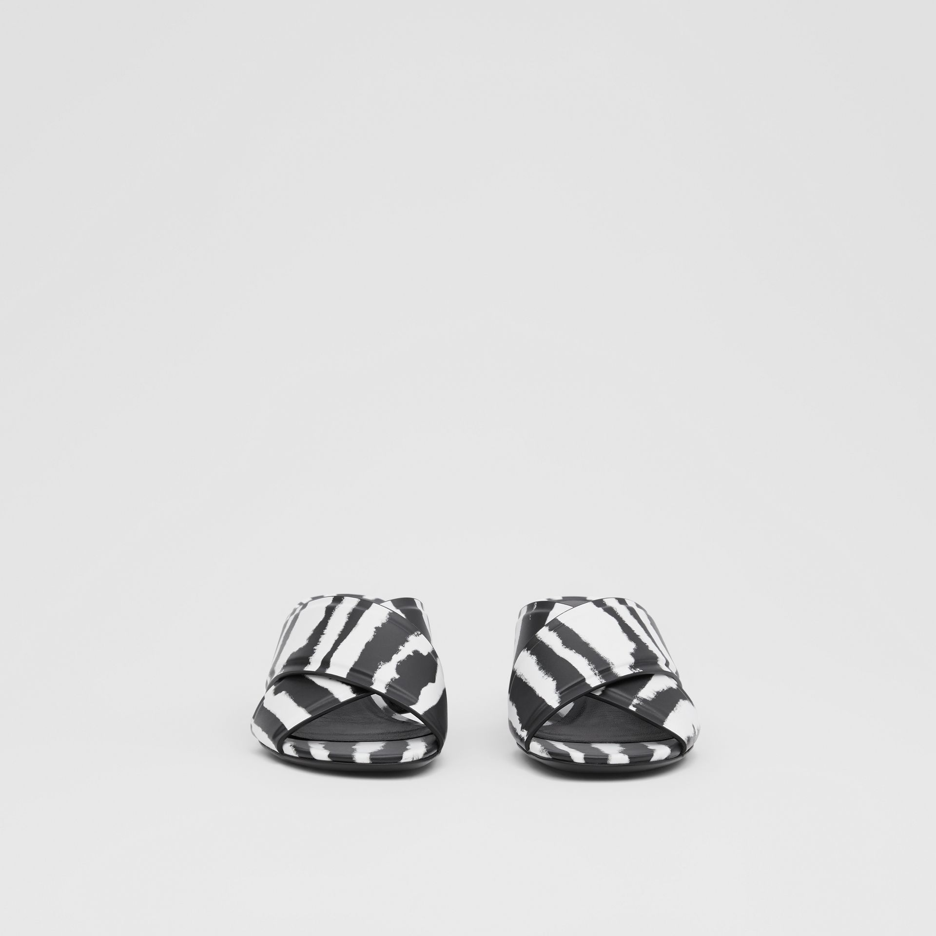 Watercolour Print Leather Block-heel Sandals in Black/white - Women | Burberry United States - gallery image 2