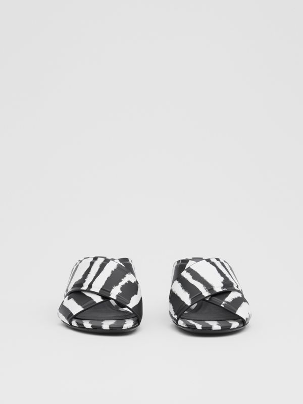 Watercolour Print Leather Block-heel Sandals in Black/white - Women | Burberry United States - cell image 2