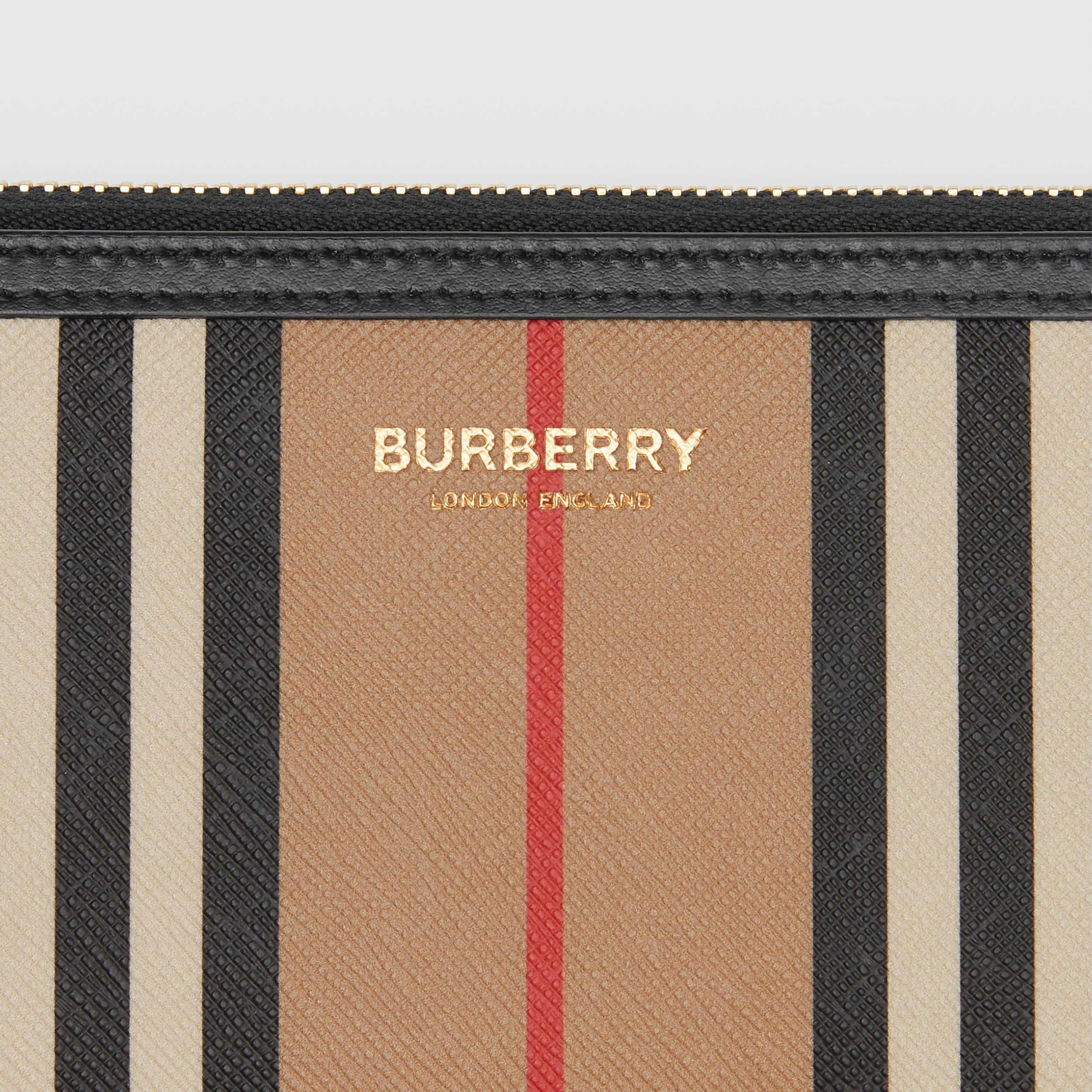 Icon Stripe E-canvas and Leather Ziparound Wallet in Archive Beige - Women | Burberry - 2