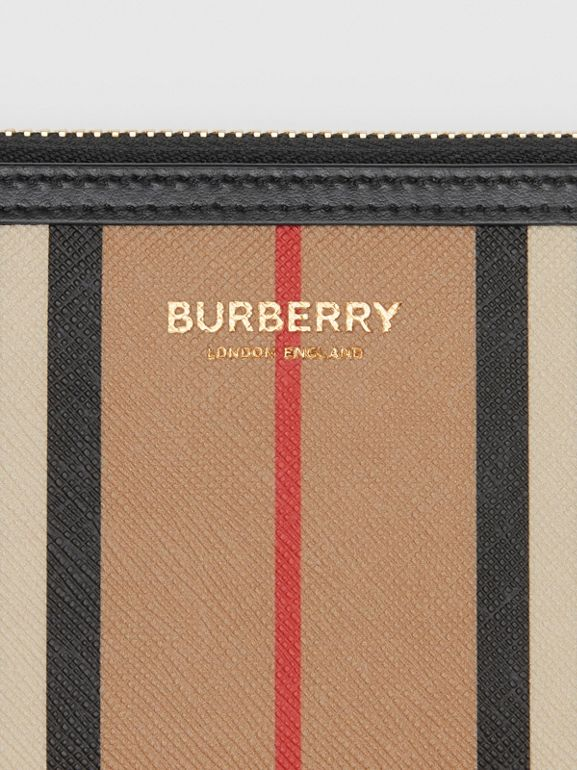 Icon Stripe E-canvas and Leather Ziparound Wallet in Archive Beige - Women | Burberry - cell image 1