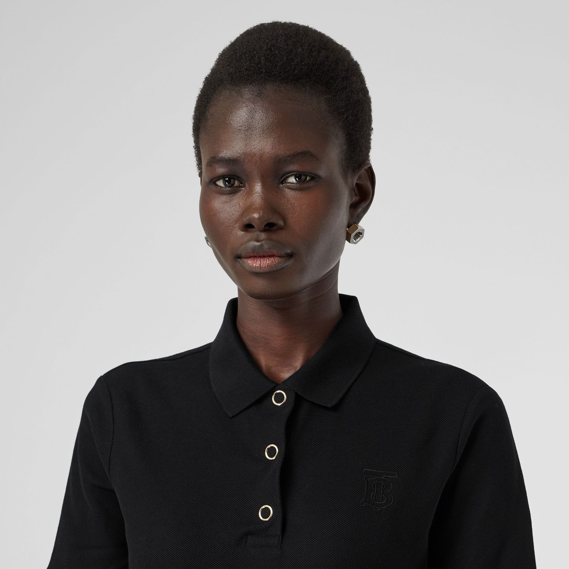 Monogram Motif Cotton Piqué Polo Shirt in Black - Women | Burberry - gallery image 1