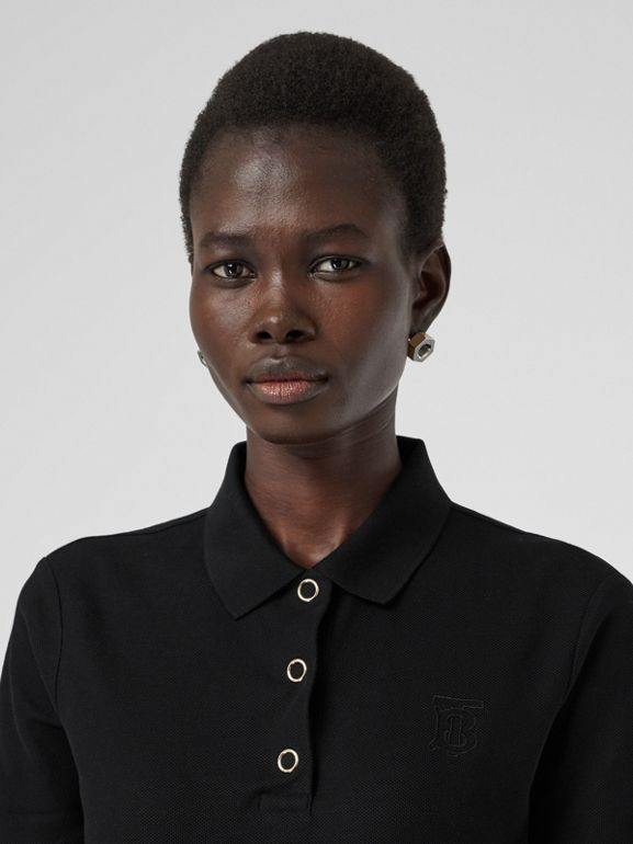 Monogram Motif Cotton Piqué Polo Shirt in Black - Women | Burberry - cell image 1