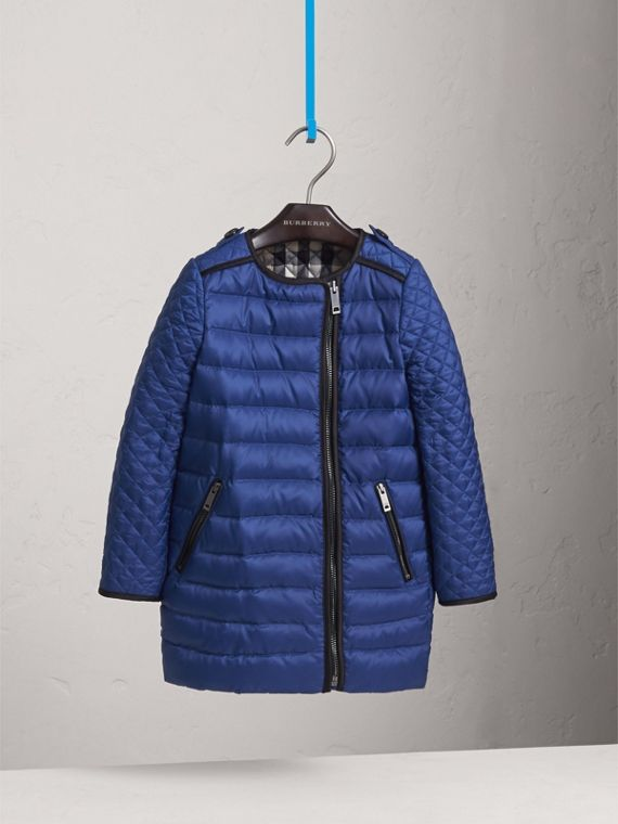 Quilted Down-filled Coat in Dark Cobalt - Girl | Burberry - cell image 2