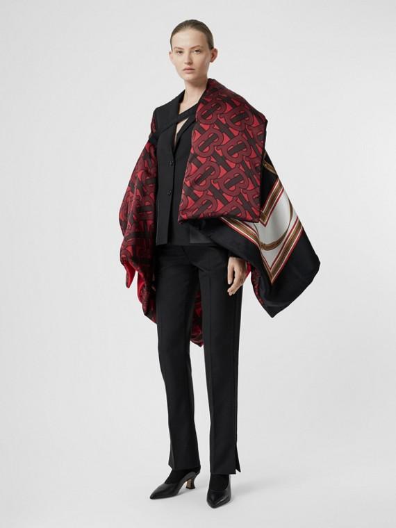 緞面條紋細節設計羊毛套量裁製長褲 (黑色)