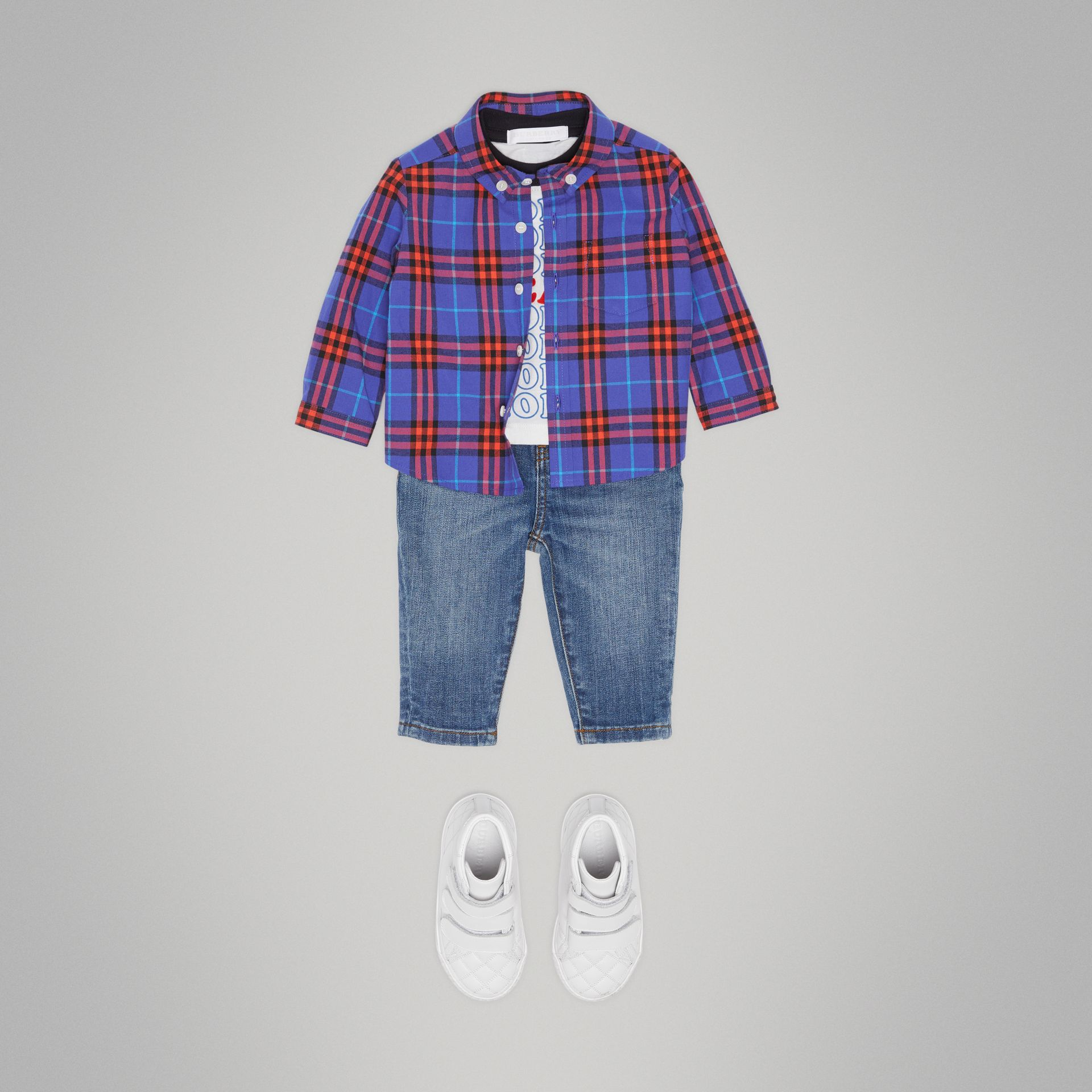 Button-down Collar Check Cotton Shirt in Sapphire Blue - Children | Burberry - gallery image 2