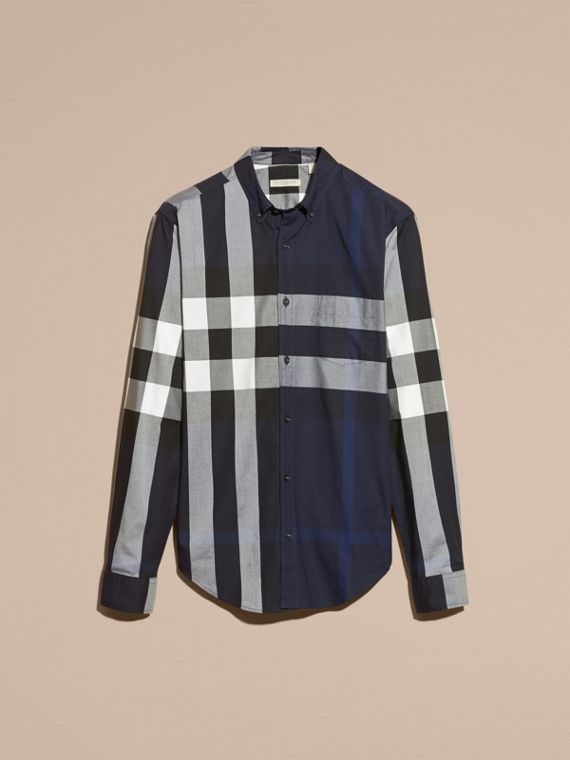 Indigo blue Check Cotton Shirt Indigo Blue - cell image 3