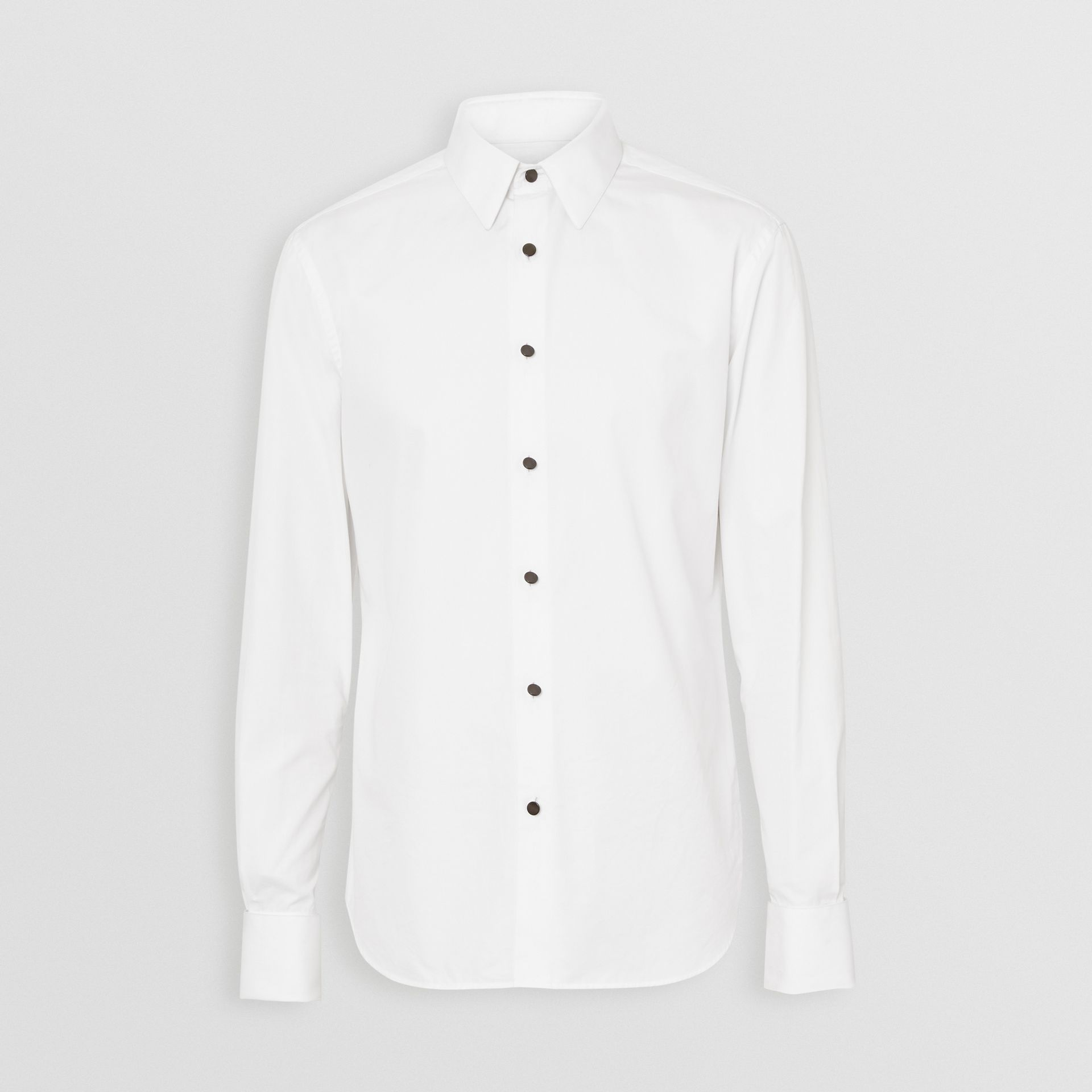 Classic Fit Cotton Poplin Dress Shirt in White - Men | Burberry - gallery image 3