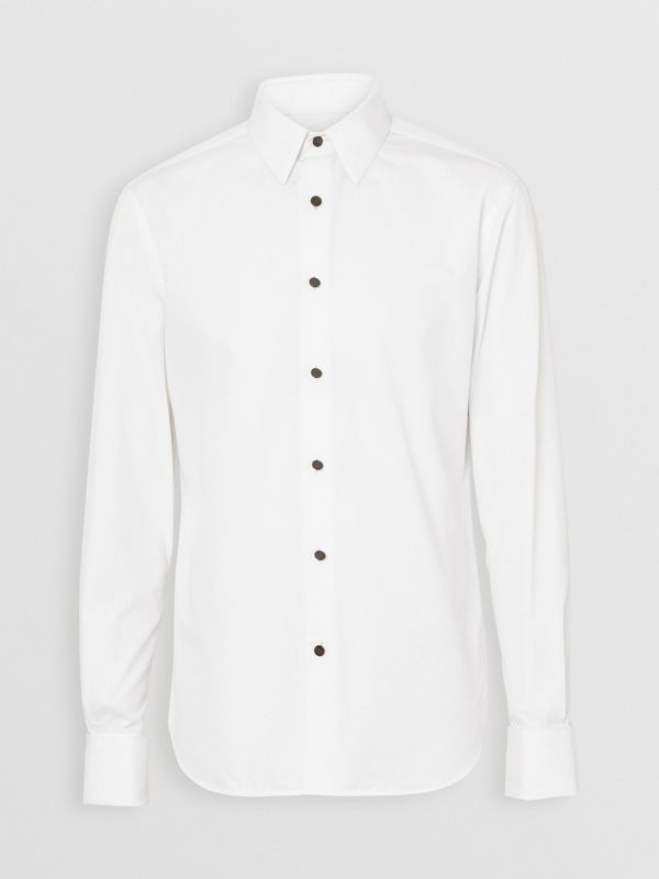 Classic Fit Cotton Poplin Dress Shirt in White - Men | Burberry Canada - cell image 3