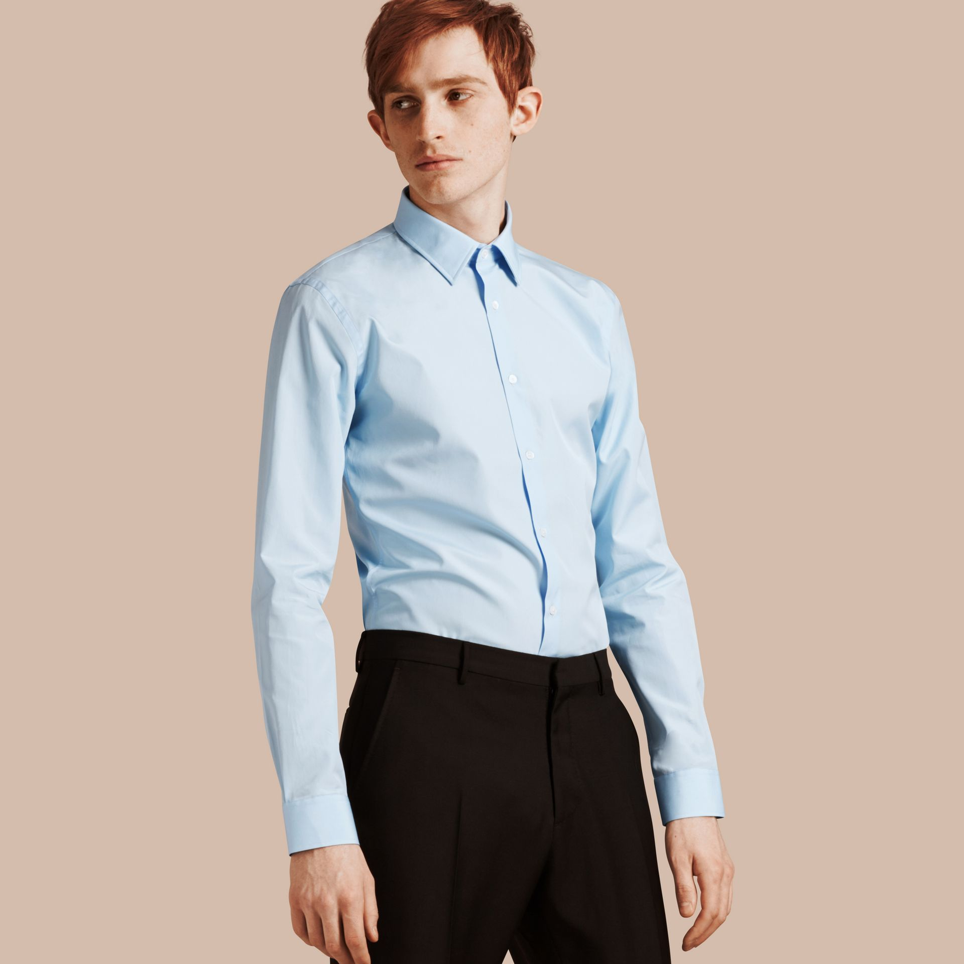 Slim Fit Cotton Poplin Shirt in City Blue - Men | Burberry Singapore - gallery image 1