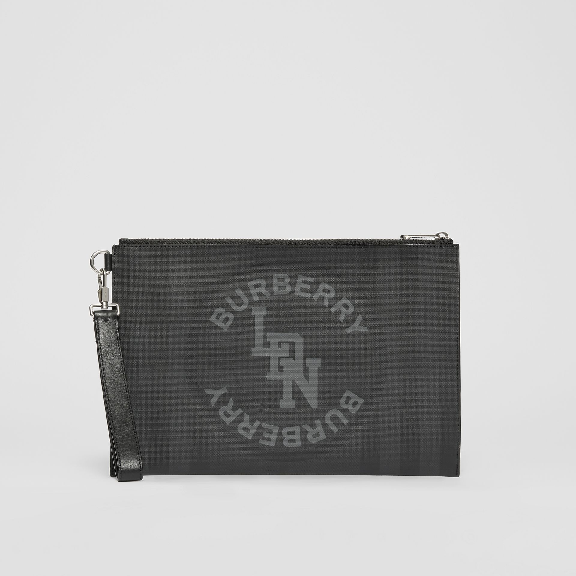 Logo Graphic London Check Zip Pouch in Dark Charcoal - Men | Burberry United States - gallery image 4
