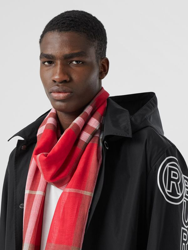 Lightweight Check Wool Silk Scarf in Bright Red | Burberry - cell image 3