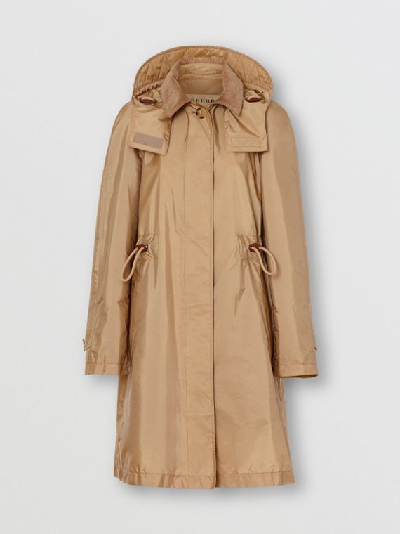Detachable Hood Taffeta Parka in Honey
