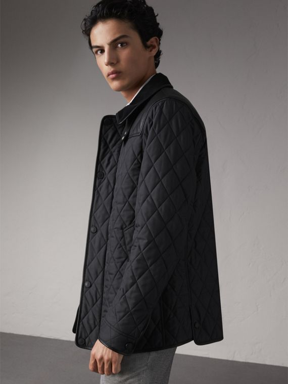 Lambskin Yoke Diamond Quilted Jacket in Black