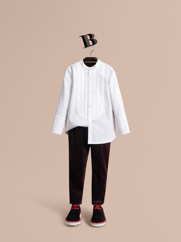 Velvet Tuxedo Trousers in Black Currant   Burberry - cell image 2
